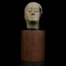 Egyptian stone head of an official, Ptolemaic