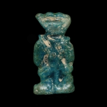 New Kingdom blue faience amulet of Bes