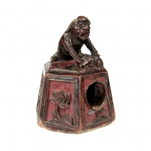 Qing Dynasty carved wooden inkwell surmounted by Qilin 麒麟