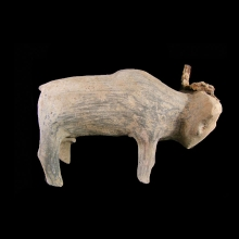 Ban Chiang clay bull with iron horns.