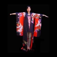 Beautiful Japanese Furisode black and red silk kimono