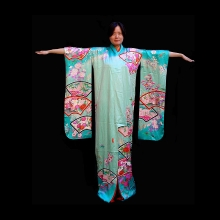 Beautiful Japanese Furisode turquoise silk kimono