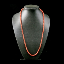 A strand of  Mediterranean natural red coral round beads