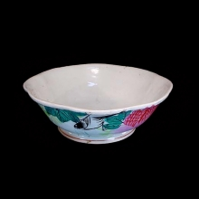 Chinese folk art ceramic bowl with hand-painted flora, bird and calligraphy