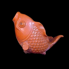Chinese yellow ware terracotta sculpture of a goldfish