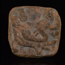 Chandraketugarh clay plaque depicting an erotic couple in symplegma