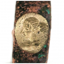 Hellenistic bronze ring the bezel engraved with a lady in profile