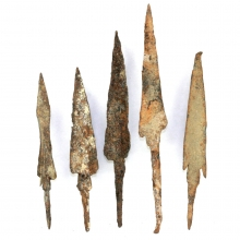 Set of five Roman to Scythian iron arrow heads