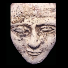 Egyptian terracotta overlaid with plaster face of a male, rendered in typical Hyksos style