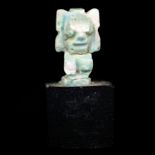 Late Period green faience amulet depicting Shu
