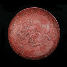 A fine Chinese red (cinnabar) lacquer box with two dragons