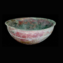 Indo-Iranian large rare bronze bowl with engraved horses and floral design