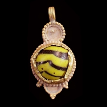 Islamic Glass set in modern 15ct gold as pendant