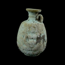 Roman Egyptian votive, pale turquoise glazed New Years eve flask with erotic image