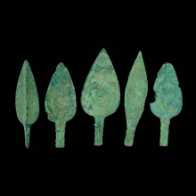 Set of five Bactrian copper arrowheads.