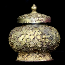 A Chinese Tang Dynasty gilt brozne lidded vessel