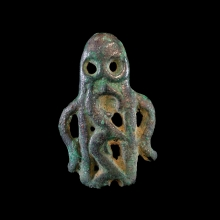 Steppe culture bronze stud in the form of an anthropomorphic figure