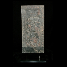 An important Northern Qi stone panel depicting a scene of Warriors on horseback
