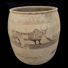 Indus Valley clay vessel with bull design