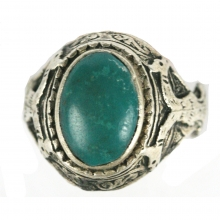 Islamic silver ring with green stone bezel