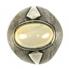 Islamic silver ring with moon stone bezel