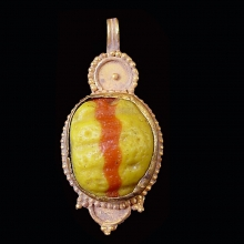 Islamic Glass set in modern 15ct gold as pendant.
