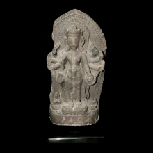 A black stone stele depicting Vishnu, 16th - 17th Century, Nepal