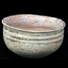 An Indus Valley Mehrgarh buff-ware pottery vessel with painted  designs