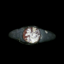 Sassanian silver alloy ring with carnelian monogram bezel.