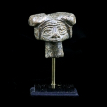 A Bactrian stone stopper in the form of an elderly lady