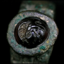 Hellenistic bronze ring with amethyst bezel
