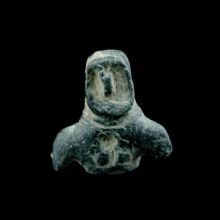 Bactrian grey/green steatite bust of a hero or warrior