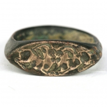 Sassanian bronze ring with depiction of two gazelles