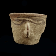 Islamic painted pottery mortar.