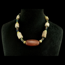 Cambodian mixed bead necklace, carnelian, fossilised coral and glass