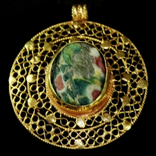 Roman-Egyptian Glass set in modern 15ct gold as pendant.