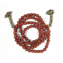 A red jasper mala 108 with brass