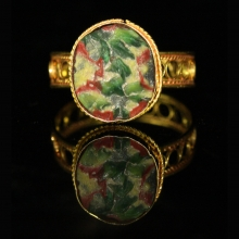 Roman-Egyptian Glass set in modern 15ct gold as a ring