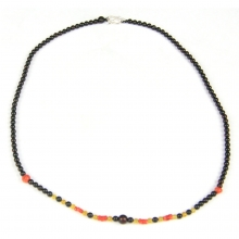 A Necklace comprising natural gold and natural cherry  amber beads interspersed with natural Mediterranean red coral beads
