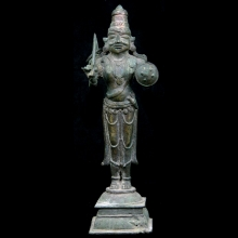 An Indian brass statuette of a warrior holding shield and weapons