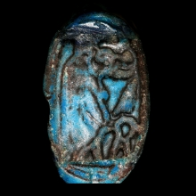 Egyptian dark blue faïence ring the bezel depicting Tueris, 18th - 19th Dynasty