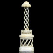 An Anglo-Indian carved ivory tower in the form of a Buddhist Stupa