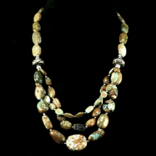 Himalayan necklace comprising, turquoise and silver beads.