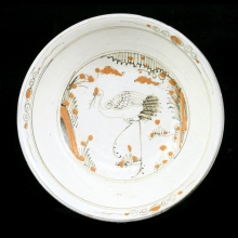 Ming Dynasty Chizou (Tz'u-chou) ware ceramic bowl with central crane figure
