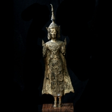 A large Rattanakosin gilt bronze standing figure of Buddha
