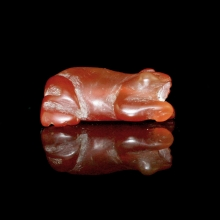 A Pyu to Pagan carnelian bead in the form of a frog