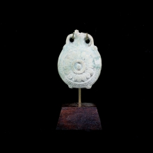 Ptolemaic to early Roman Egyptian votive, pale turquoise glazed faience  New Years eve flask