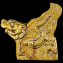 Ming Dynasty yellow glazed ornament in water dragon form