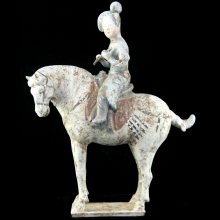 A fine Tang Dynasty pottery figure of Musician riding on horseback