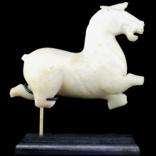 Chinese white jade carving of a horse in Han Style